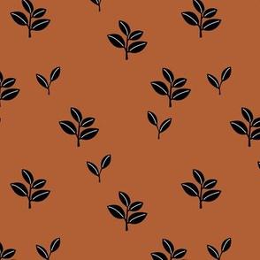 Sweet garden delicate leaves botanical Scandinavian style minimal trend design rust copper winter