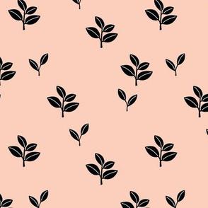 Sweet garden delicate leaves botanical Scandinavian style minimal trend design beige off white sand