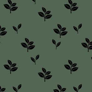 Sweet garden delicate leaves botanical Scandinavian style minimal trend design eucalyptus green sage winter