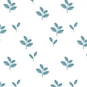Sweet garden delicate leaves botanical Scandinavian style minimal trend design cool blue baby boy nursery