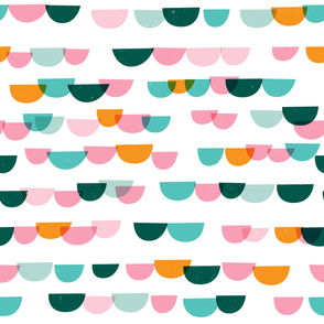 Waves and Boats Small M+M White Bubblegum Aqua by Friztin