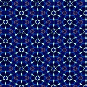 Deep Blue DNA Hexagon Pattern