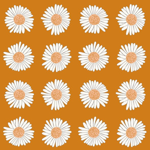 Daisies on Mustard Yellow