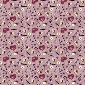 (micro scale) floral nurse melody - nursing - syringe, ekg, stethoscope - mauve - C20BS