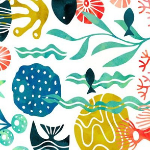 Ocean plants and fish in watercolor rotated (no pink)
