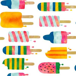 Summer watercolor popsicles rotated