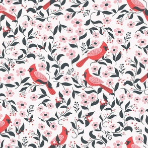 Blooming cardinals in white