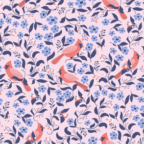 Blooming cardinals in lilac and pink