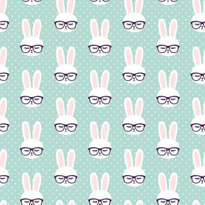 (small scale) bunny with glasses - dark mint polka C20BS