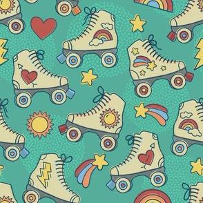Retro Roller Rink- Green // rollerskating shooting star hearts lightning rainbows whimsical vintage fabric
