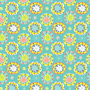 starry floral circles mint