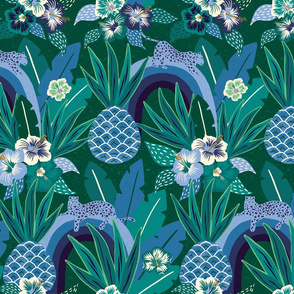 blue green tropical fantasy/large scale