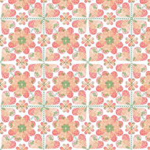 Floral Hearts Quilt Square