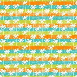 (small scale) palm tree on retro green & orange stripes C20BS