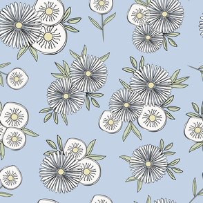 Floral in White Yellow and Green on Pastel Blue