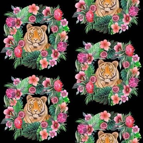 tiger with tropical flower wreath