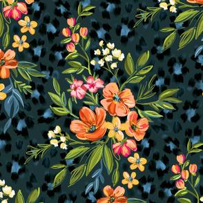 Apricot Maximalist Leopard Print Floral large print