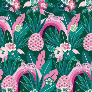 pink  green tropical fantasy/large scale