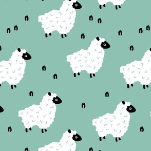 Little sheep friends and meadow Scandinavian farm animals design minimal style mint green neutral nursery baby