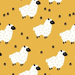Little sheep friends and meadow Scandinavian farm animals design minimal style sunshine summer yellow neutral nursery baby