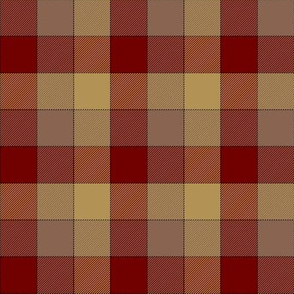 """paneled tartan check - 3"""" - red, taupe, soft gold"""
