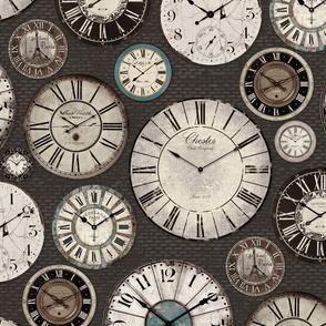 Vintage Clocks charcoal grey cream brown blue