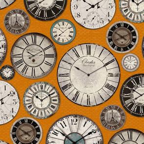 Vintage Clocks orange beige brown tuquoise black