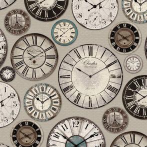 Vintage Clocks beige brown tuquoise black