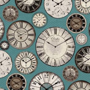 Vintage Clocks tuquoise grey black brown