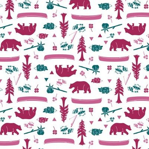Woodland Animals Berry & Teal