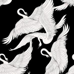 Swans Flying in Black