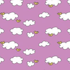 Clouds & Birds on Lavender