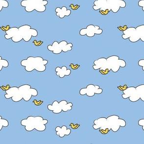 Clouds & Birds on Blue