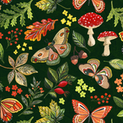 Animalier Forest Butterflies on Green - Large Scale by Angel Gerardo
