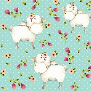 Little Sheep - Pink & Blush Flowers (mint dot)