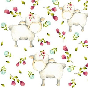 Cute Sheep - Pink & Blue Flowers