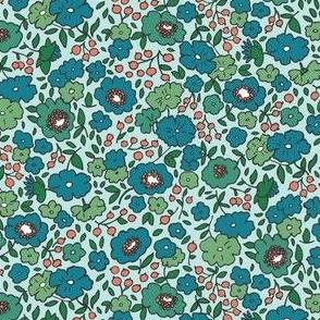 English Garden, Teal Turquoise Blush