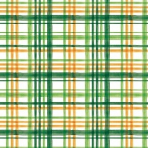 (small scale) Irish Plaid - Watercolor with orange - St Patricks Day C20BS