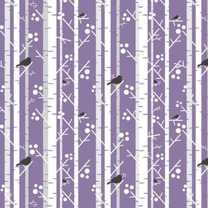 Birch Trees with Blackbirds on Lilac