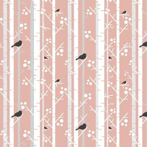 Birch Trees with Blackbirds on Pale Pink