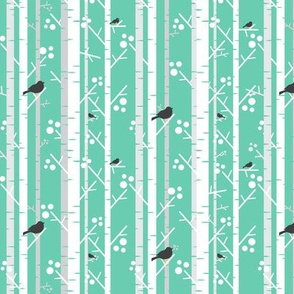 Birch Trees with Blackbirds on Mint
