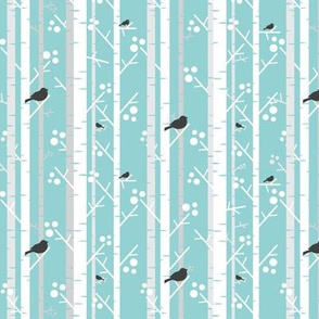 Birch Trees with Blackbirds on Icy Blue