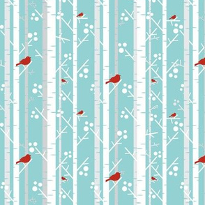 Birch Trees with Red Birds on Blue