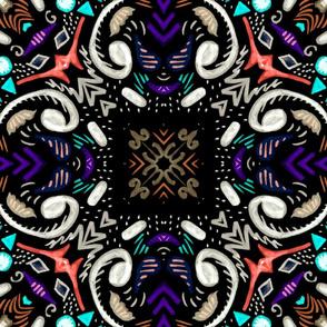 Folk Art Dark Tile, large