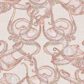 Cephalopod -  Octopi Smaller - Rust & Cream
