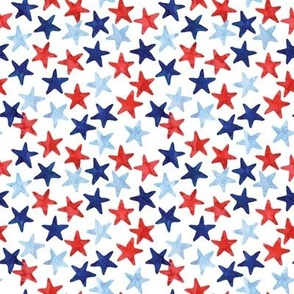 stars - multi watercolor - red white and blue - LAD20