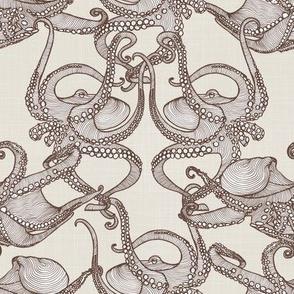 Cephalopod -  Octopi Smaller - Brown & Cream