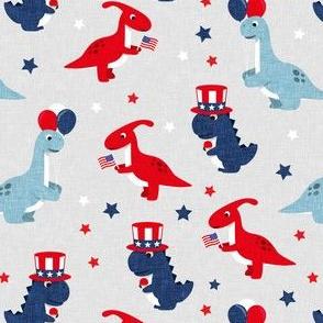 Patriotic Dinos - Stars and Stripes - light grey-  LAD20