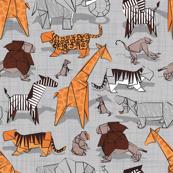 Small scale // Origami animalier // grey linen texture background orange giraffes