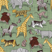 Small scale // Origami animalier // sage green linen texture background yellow giraffes